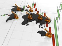 Gold Pumpjack oil on the background of the  in the circuit continents  quoted stock exchange, 3d render Stock Photos