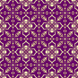 Gold on purple floral pattern Stock Image