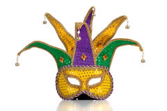 Gold, purple and green mardi gra mask Royalty Free Stock Images
