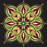 Gold and purple and green vintage pattern Royalty Free Stock Photos