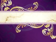 Gold and purple horizontal Victorian banner Royalty Free Stock Photography