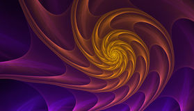 Gold and purple nautilus sea shell.  Royalty Free Stock Image