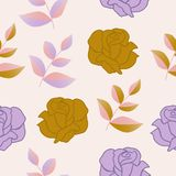 Gold and purple roses and leaves in a seamless pattern design