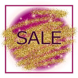 Gold and purple sale background in frame Royalty Free Stock Photos