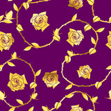 Gold-on-Purple seamless rose sari pattern Stock Images