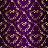 Gold-on-Purple seamless sari pattern with hearts Stock Images