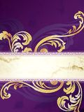 Gold and purple vertical Victorian banner Royalty Free Stock Photography
