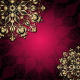 Gold and purple vintage card Royalty Free Stock Images