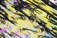 Gold, Purpur, rosa gelbe schwarze Wellen spritzt, bunte klare wächserne Farben, kreativer Hintergrund der Kontraste Lizenzfreie Stockfotos
