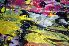 Gold, Purpur, rosa Wellen spritzt, bunte klare wächserne Farben, kreativer Hintergrund der Kontraste Stockfotografie