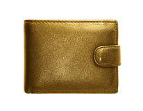 Gold purse on a white background.  Stock Image