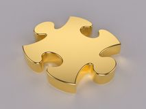 Gold puzzle. 3D computer illustration with global illumination enabled Royalty Free Stock Photos