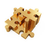Gold puzzle. 3d illustration of four gold puzzle over white background Royalty Free Stock Images