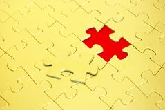 Gold puzzle. S for background. business concept Royalty Free Stock Images