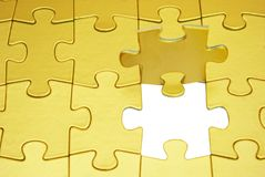 Gold puzzle. S for background. business concept Royalty Free Stock Photos