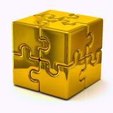 Gold puzzle cube. 3d illustration of gold puzzle cube Royalty Free Stock Image