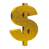 Gold puzzle dollar sign Stock Photo