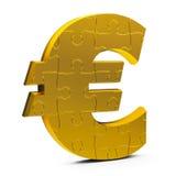 Gold puzzle euro sign Stock Photos