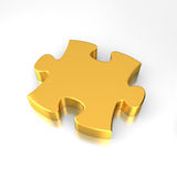Gold puzzle. Jigsaw Piece on the white reflective background Royalty Free Stock Photography