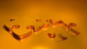 Gold puzzle  and missing piece. Detailed 3d image Royalty Free Stock Image