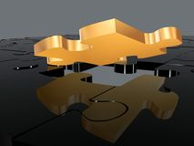 Gold puzzle piece in a black puzzle Royalty Free Stock Images