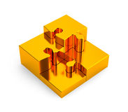 Gold puzzles. Image contain clipping path Stock Photo