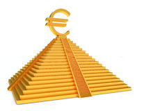 Gold pyramid and euro. Golden pyramid and gold euro symbol over white Stock Image
