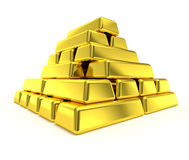 Gold pyramid gold bars stack Stock Image