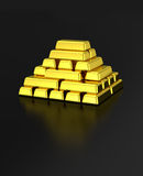 Gold pyramid gold bars stack Royalty Free Stock Images