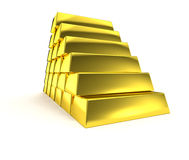 Gold pyramid golden stairs stacked ingot. Isolated gold bar stack pyramid. Glossy staircase. Financial element Stock Image
