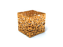 Gold QR cube Royalty Free Stock Image