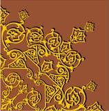 Gold quadrant ornament on brown. Illustration with gold quadrant ornament on brown background Stock Image