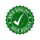 Gold Quality Grunge Stamp with Tick royalty free illustration