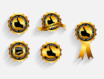 Gold Quality Label Set with Long Shadows. Vector. Illustration. This is file of EPS10 format Royalty Free Stock Images