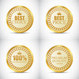 Gold Quality Label Set Vector Illustration. EPS10 Royalty Free Stock Photos
