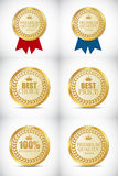 Gold Quality Label Set Vector Illustration. EPS10 Royalty Free Stock Images