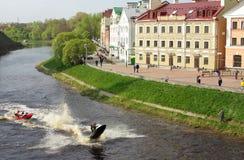 Gold Quay in Pskov. Embankment Pskova in the ancient Russian city of Pskov Stock Photos