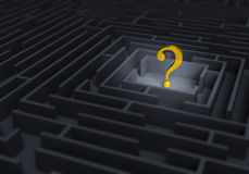 Gold Question At Center Of Maze Stock Image