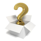 Gold question mark in a box. 3d rendered gold question mark in an open box - Image on white background with soft shadows Royalty Free Stock Image