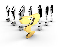 Gold question-mark leadership concept Royalty Free Stock Image