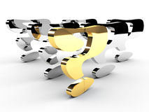 Gold question-mark mark leadership Stock Image