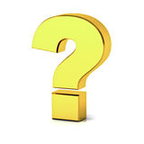 Gold question mark over white background with reflection and shadow Royalty Free Stock Images
