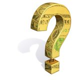 Gold Question Mark Reflecting Dollar Bills. 3d rendered gold question mark filled with reflections of dollar bills.  Question mark casts a shadow on a white Royalty Free Stock Photos