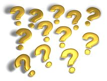 Gold question marks Royalty Free Stock Photos
