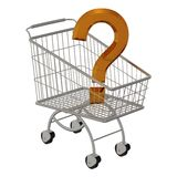 Gold question in shopping cart Royalty Free Stock Photos