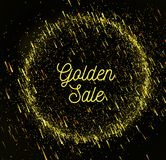 Gold rain sale background. With bokeh. Vector illustration on dark background Royalty Free Stock Photo
