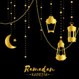 Gold Ramadan Kareem celebration greeting card. Hanging arabic lamps, stars and crescent moon. Holy month of muslim. Symbol of Islam. Moon Ramadan. Vector stock illustration