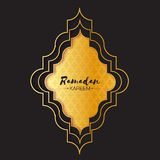 Gold  Ramadan Kareem Greeting card with geometric graphic arabic arabesque pattern. Royalty Free Stock Photography