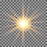 Gold rays light effect  on transparent background. Stock Photography