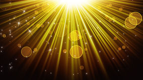 Gold rays of light and shining stars abstract background Stock Photo